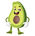 silly avocado on white background vector image vector image