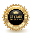 Sixty Five Years Experience Badge vector image vector image