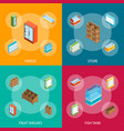 supermarket elements 3d banner set isometric view vector image vector image