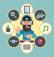 technological guru surrounded by icons vector image vector image