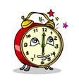 traditional alarm clock waking up cartoon vector image