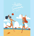 young women playing volleyball together on the vector image vector image