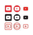 youtube social media icons vector image
