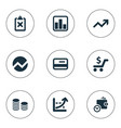 set of simple financial icons vector image