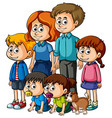 parents with many happy children vector image