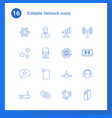 16 network icons vector image vector image