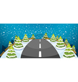 A hill covered with snow with a narrow road vector image vector image