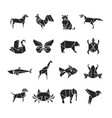 abstract animals silhouettes with line details vector image vector image