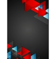 Abstract blue red triangles on black background vector image vector image