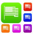 american flag set color collection vector image vector image