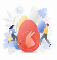 big easter egg with tiny people vector image vector image