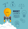 bulb rocket with start up business icons vector image