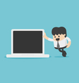 businessman leaning against laptop vector image vector image