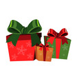 christmas gift boxes on white background vector image vector image