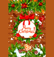christmas tree and holly wreath new year poster vector image vector image