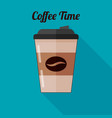 coffee in a plastic cup icon in flat style vector image vector image