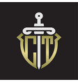 Ct logo monogram with sword and shield