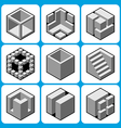 cube icon set 2 vector image vector image