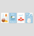 dairy products cards template vector image vector image