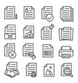 documents line icons set on white background vector image vector image