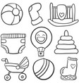 doodle of baby toys set vector image vector image