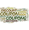 electronic discount coupon book text background vector image vector image