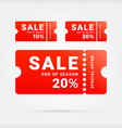 end of season sale on red ticket vector image vector image