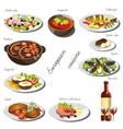 European cousine set Collection of food dishes vector image vector image