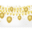 gold balloons confetti and streamers on white vector image