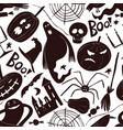 halloween seamless pattern hand drawn design vector image