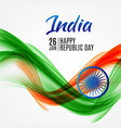 happy india republic day26 january vector image vector image