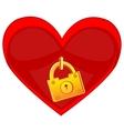 Heart locked on golden lock vector image vector image