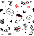 hearts and flower symbol cartoon seamless vector image