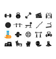 home gym equipment black glyph icons set on white vector image