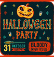 invitation to halloween night party vintage card vector image vector image