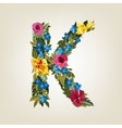 K letter Flower capital alphabet Colorful font vector image