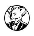 koala bear wearing tuxedo woodcut vector image vector image