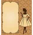 Lady in a retro dress background vector image vector image