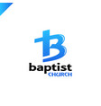 letter b and cross church of jesus christ logo vector image