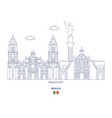 mexico linear city skyline vector image vector image