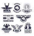 monochrome sport labels for mma fighters vector image vector image