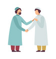 muslim men in traditional clothing greeting each vector image vector image