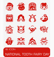 national tooth fairy day icon set vector image