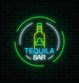 neon sign of tequila bar in circle frames mexican vector image