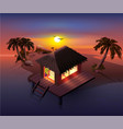 night tropical island palm trees and shack on vector image vector image