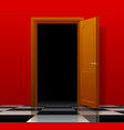 open brown door with red wall and glossy chess vector image