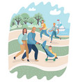 people relaxing in nature in park vector image