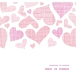 Pink textile hearts horizontal frame seamless vector image vector image