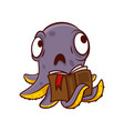 purple octopus with sad face holding book in vector image vector image