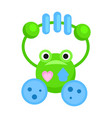 rattle in form of funny green frog vector image vector image